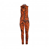 Jet Set Damen Skioverall Domina - Tiger Print Orange